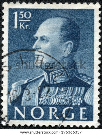NORWAY - CIRCA 1959: A postage stamp printed in the Norway shows portrait of norwegian king Olav V, circa 1959