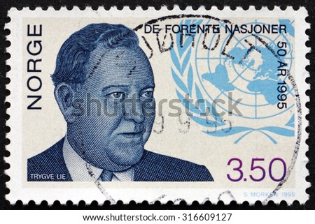 NORWAY - CIRCA 1995: a stamp printed in the Norway shows Trygve Lie, Norwegian Politician and Secretary General, and UN Emblem, circa 1995