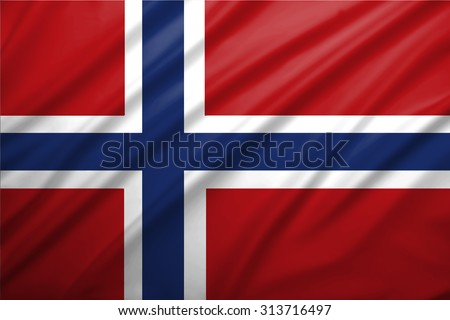 Norway flag blowing in the wind. Background texture.