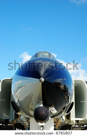 Nose Cone of Fighter Jet on Aircraft Carrier Deck
