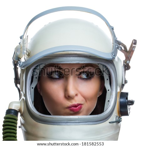 Not impressed young woman wearing space helmet isolated on white background. Emotional concept
