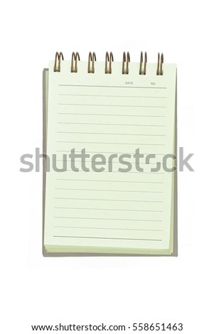 Note book paper isolated on white background