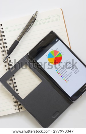Note paper, smartphone, and pen with financial documents