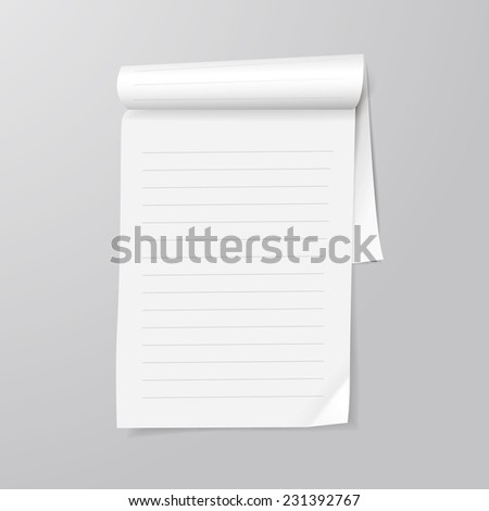 note paper template isolated on grey background