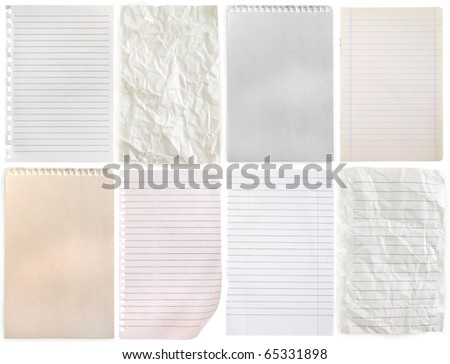 notebook pages collection isolated on white