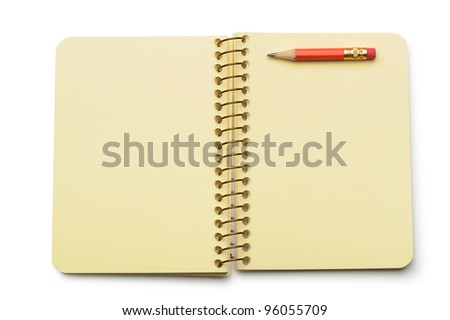 Notebook yellow paper and red pencil. Isolated on white