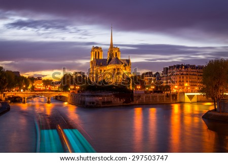 Notre Dame Cathedral during sunset.
