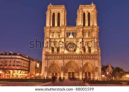 Notre Dame de Paris is a Gothic, Catholic cathedral on the eastern half of the Isle de la Cite in Paris, France