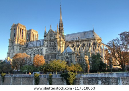 Notre Dame of Paris side view . First light in the morning