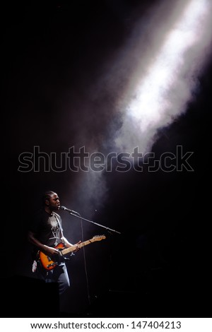 NOVI SAD, SERBIA - JULY 14: Bloc Party performs at EXIT 2013 Music Festival, on July 14, 2013 at the Petrovaradin Fortress in Novi Sad, Serbia.