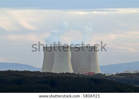 Nuclear power plant with four huge cooling towers