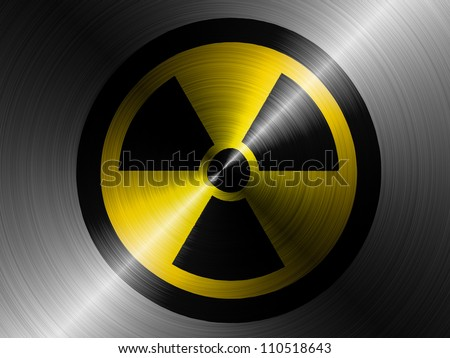 Nuclear radiation symbol painted on brushed metall