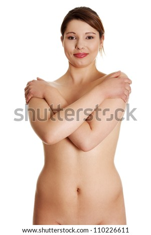Nude Overweight Woman Isolated On White Background