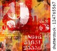 number and text abstract collage with red and orange grunge elements - stock photo