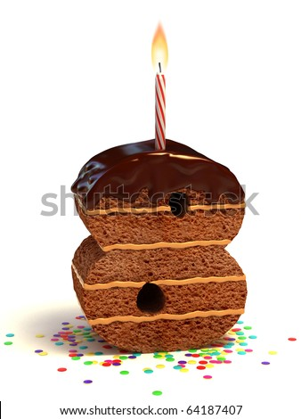 number eight shaped chocolate birthday cake with lit candle and confetti