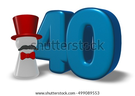 number forty and pawn with hat and beard - 3d rendering