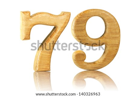 Number 79 from Teak wood on white background