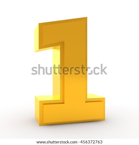 3d Gold Number One Isolated Over Stock Illustration ...