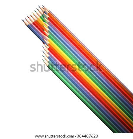 number 1, made of colored pencils, flat digit with long shadow is made of pencils