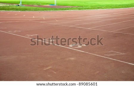 Number on the start of a running track
