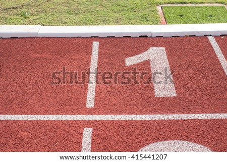 Number 1,Running track for the athletes background