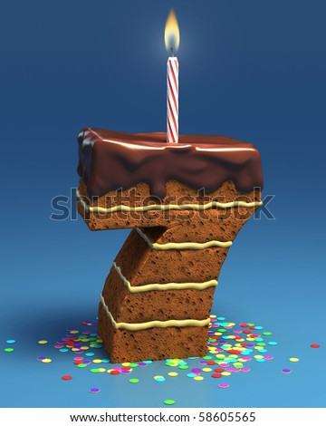 number seven shaped birthday cake with candle