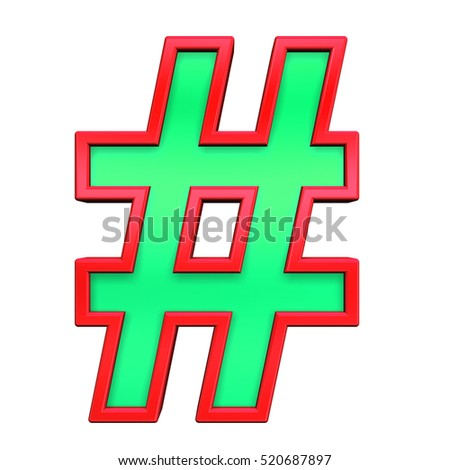 Number sign from green with red frame alphabet set, isolated on white. 3D illustration.