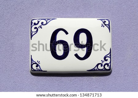 number sixty-nine, house address plate number