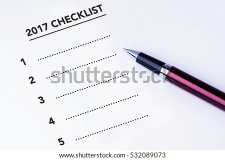 Numbered 2017 Checklist form with isolated white background. Business concept survey.
