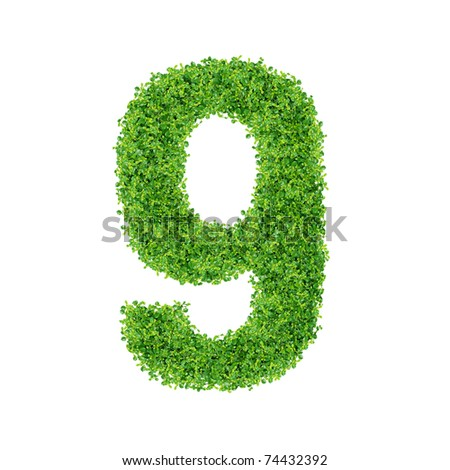 Numbers made of Small green plants and green grass on white background.