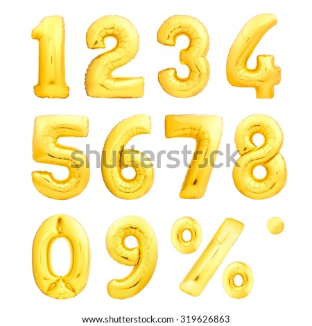 Numbers set and percent sing made of golden inflatable balloons