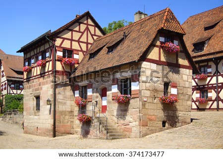 NURNBERG, GERMANY - JULY 02, 2015: The Imperial Castle in ancient historic medieval  town.  The castle is an important imperial castle of the middle ages.