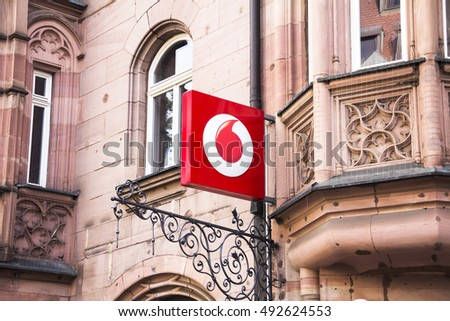 NURNBERG, GERMANY - SEP 19, 2015: Logo of Vodafone - Vodafone is a British multinational telecommunications company and It is the one of the world's largest mobile telecommunications company.
