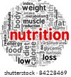Nutrition related words concept in tag cloud - stock photo