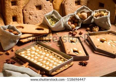 Nuts and baked gingerbread as the basic elements for Cottage