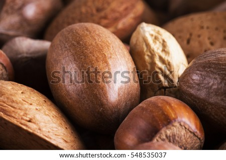 Nuts of several types in close up, with Brazilian nuts, almonds, hazelnuts, horizontal image