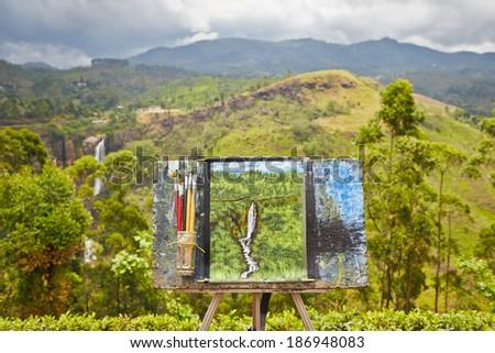 NUWARA ELIYA, SRI LANKA - April 8 : This picture was drawn by painter ...