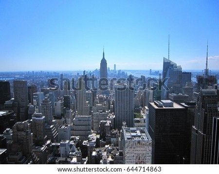 new york city skyline aerial view stock photo 125115182 shutterstock. Black Bedroom Furniture Sets. Home Design Ideas