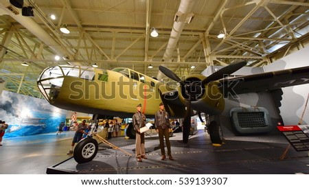 OAHU - NOVEMBER 19: North American B-25B Mitchell Medium Bomber on display at Pearl Habor Pacific Aviation Museum on November 19, 2015 in Honolulu, United States of America