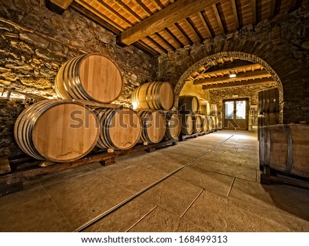 oak wine barrels in winery cellar with vaulted arches