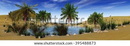 oasis in the desert, palm trees and lake, 3D rendering