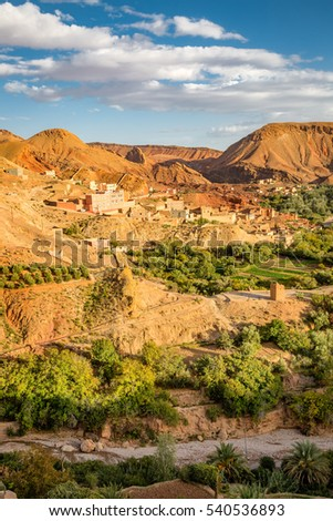 Oasis with the small gardens in the valley of Oued Dades in Morocco