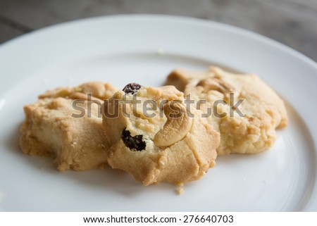 Oatmeal and Cashew Cookie on white plate