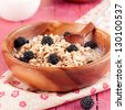 Oatmeal with blackberry, square image - stock photo