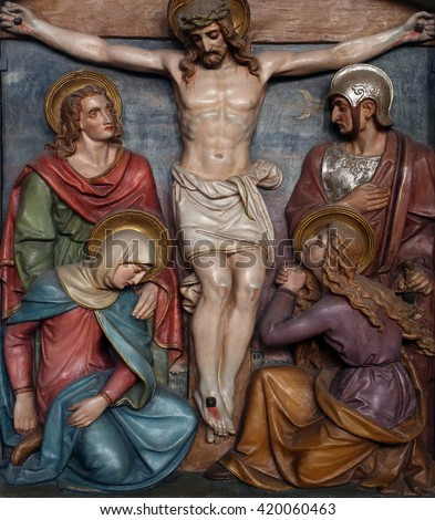 OBERSTAUFEN, GERMANY - OCTOBER 20: Jesus dies on the cross, 12th Stations of the Cross, the parish church of St. Peter and Paul in Oberstaufen, Germany on October 20, 2014.