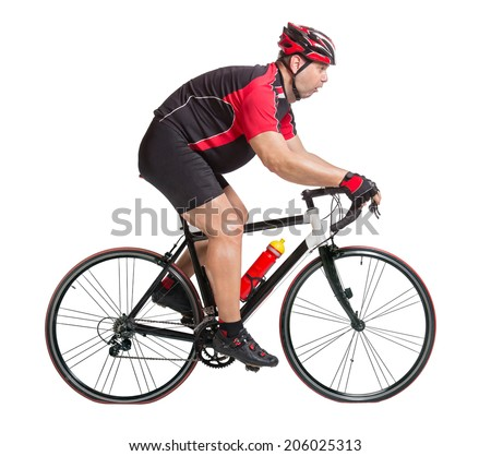 Obese cyclist with difficulty riding a bicycle isolated on white background. Thick biker rides a bike with difficulty. Fat cyclist on a road bike on a white background. Tired fat cyclist on the bike.