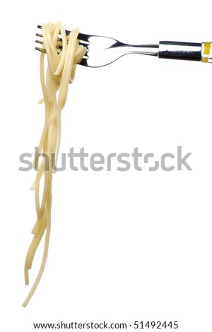 object on white - food spaghetti on fork