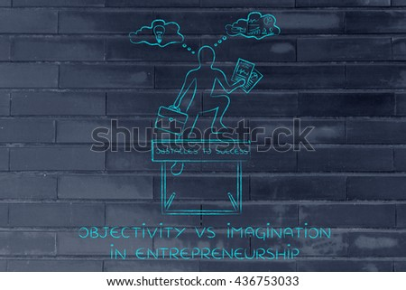 objectivity vs imagination in entrepreneurship: businessman overcoming obstacle by elaborating creative thoughts (right side of his brain) and analytical reasonings (his left side)