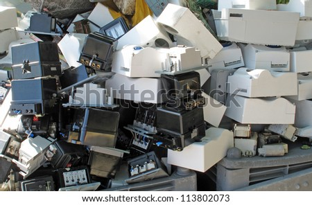 Obsolete counters of electricity thrown in waste landfill