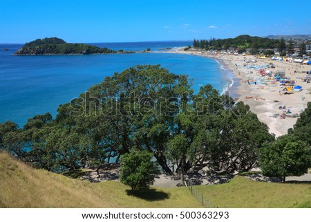 Ocean beach, view from  Mount Maunganui, New Zealand